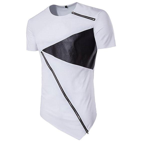 Camisetas Blancas Y Negro Hombre LHWY, Remera Con Cremallera Irregular Dobladillo Camisetas Suelto Cuello Redondo