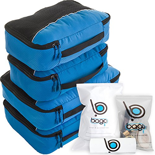 Bago Packing Cubes For Travel Bags - Luggage Organizer 10pcs Set (Blue)