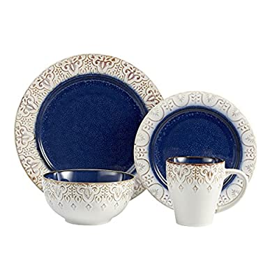 American Atelier 16 Piece Granada Round Dinnerware Set, Blue - ROUND DINNERWARE SET - Gorgeous 16-Piece Collection Provides Full Dinner Service for Four People w/ Dinner Plates, Salad Plates, Soup Bowls & Mugs. HIGH QUALITY STONEWARE - Thick, Durable, Lead-Free Stoneware Pottery is Dishwasher & Microwave Safe & Withstands Many Years of Regular Everyday Use. FABULOUS CONTEMPORARY THEME - Matching Plates Feature Your Favorite Design and Imagery; Choose From Beautiful Patterns, Adorable Themes & More. - kitchen-tabletop, kitchen-dining-room, dinnerware-sets - 51fK4sYB9QL. SS400  -