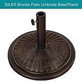 Sundale Outdoor Universal Cement Patio Umbrella Base Heavy Duty Umbrella Stand in Classic Wicker Rattan Pattern, Antique Bronze Finish, 18.9-in Diameter, 30 lbs