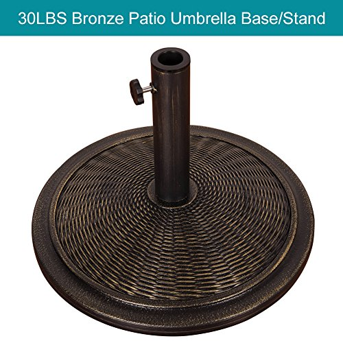Pattern Umbrella Stand - Sundale Outdoor Universal Cement Patio Umbrella Base Heavy Duty Umbrella Stand in Classic Wicker Rattan Pattern, Antique Bronze Finish, 18.9-in Diameter, 30 lbs