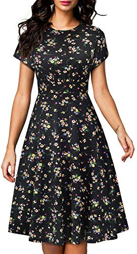 VELJIE Womens Dresses Floral Print Short Sleeve Vintage Retro Midi - Spandex Vintage