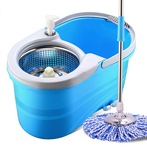 GHH Mop and Bucket Cleaning Stainless Steel 360 Degree Double Drive Rotary mop Spinning with Two Mop Heads (Blue)