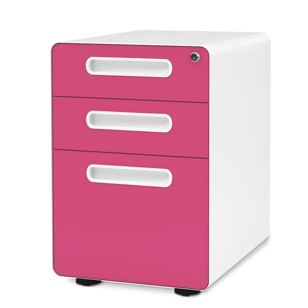 DEVAISE 3-Drawer Mobile File Cabinet with Anti-tilt Mechanism,Legal/Letter Size (Blue) PCSCBLU53
