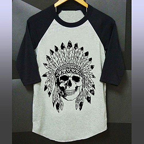 Vin beauty wlgreatsp Halloween Plus Size O Neck Native Skull O Neck Baseball Gris Manches 3/4 Pour Femme T-Shirt T-Shirt