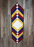 Tricolor Handmade Classic Table Runner. Rectangular.
