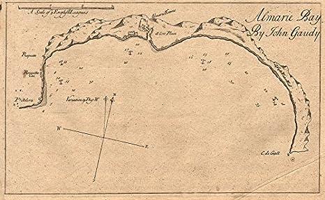 Almarie Bay Almeria Roquetas De Mar Cabo De Gata Gaudy Mar Gráfico 1747 Old Map Mapa Antiguo Vintage Mapa Mapas Impresos De España Home Kitchen