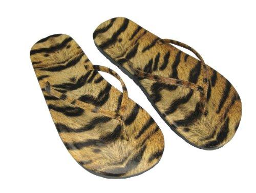 Tiger Druck Flip Flops, Tier Druck, Kunststoff, Strand Sandalen, Größen 4 bis 8, Für Frauen