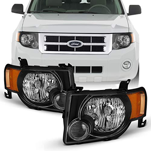 Fits 2008 09 10 11 12 Ford Escape [OE Style] Black Headlights Driver+Passenger Pair Headlamp w/Amber Turn Signal