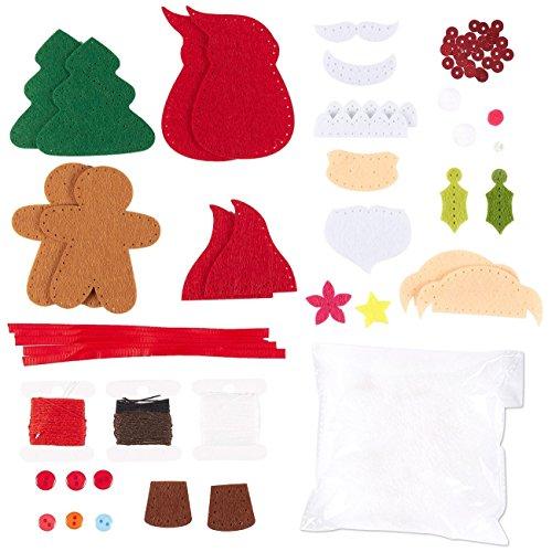 Juvale 4 Pieces Felt Applique Christmas Ornament Kit - Includes Santa, Elf, Gingerbread Man, Christmas Tree -