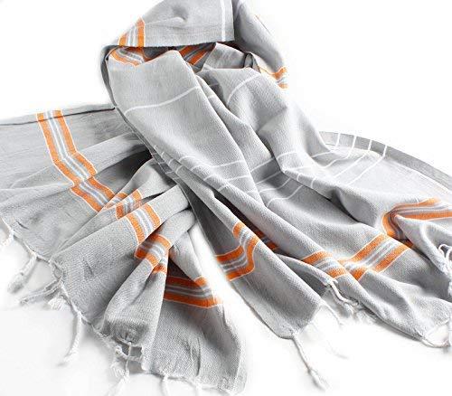 Cacala Toalla de baño turco, modelo Paradise, algodón, Silver Grey Orange, 95 x 175 x 0.5 cm: Amazon.es: Hogar