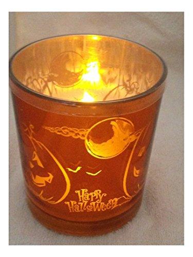 Gerson International Halloween Flameless LED Glass Pillar Candle Four Pumpkin and Moon Design]()