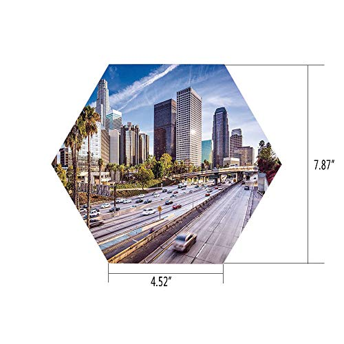 PTANGKK Hexagon Wall Sticker,Mural Decal,Travel Decor,Downtown Cityscape of Los Angeles California USA Avenue Buildings Palms,Blue Grey Green,for Home Decor 4.52x7.87 10 Pcs/Set