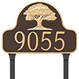 Montague Metal Oak Tree Arch Address Sign Plaque with Lawn Stakes, 11'' x 16'', Black/Copper