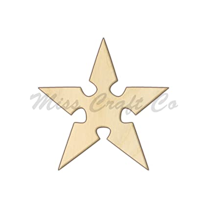 Amazon.com: Ninja Star Wood Shape Cutout, Wood Craft Shape ...