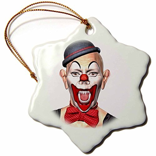Boehm Graphics Holiday Halloween - A Killer Clown in Makeup with Fangs Looking Forward - 3 inch Snowflake Porcelain Ornament (245581_1) -