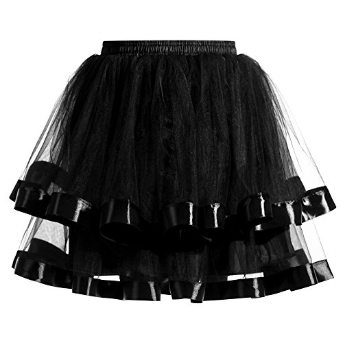 Nevera Women Teen Girl Adult Vintage Layered Fluffy Ballet Tulle Tutu Skirt Black