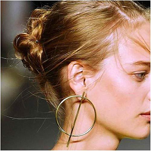 Womens Punk Club Geometric Dangle Circle Loop Earrings Alloy Bar Hoop Earrings (Gold)