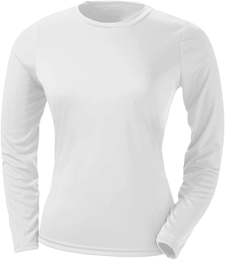 A4 Ladies' Cooling Performance Long-Sleeve T-Shirt, Wht