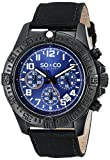 SO & CO New York Yacht Timer Men's Quartz Watch with Blue Dial Analogue Display and Black Leather Strap 5016.3