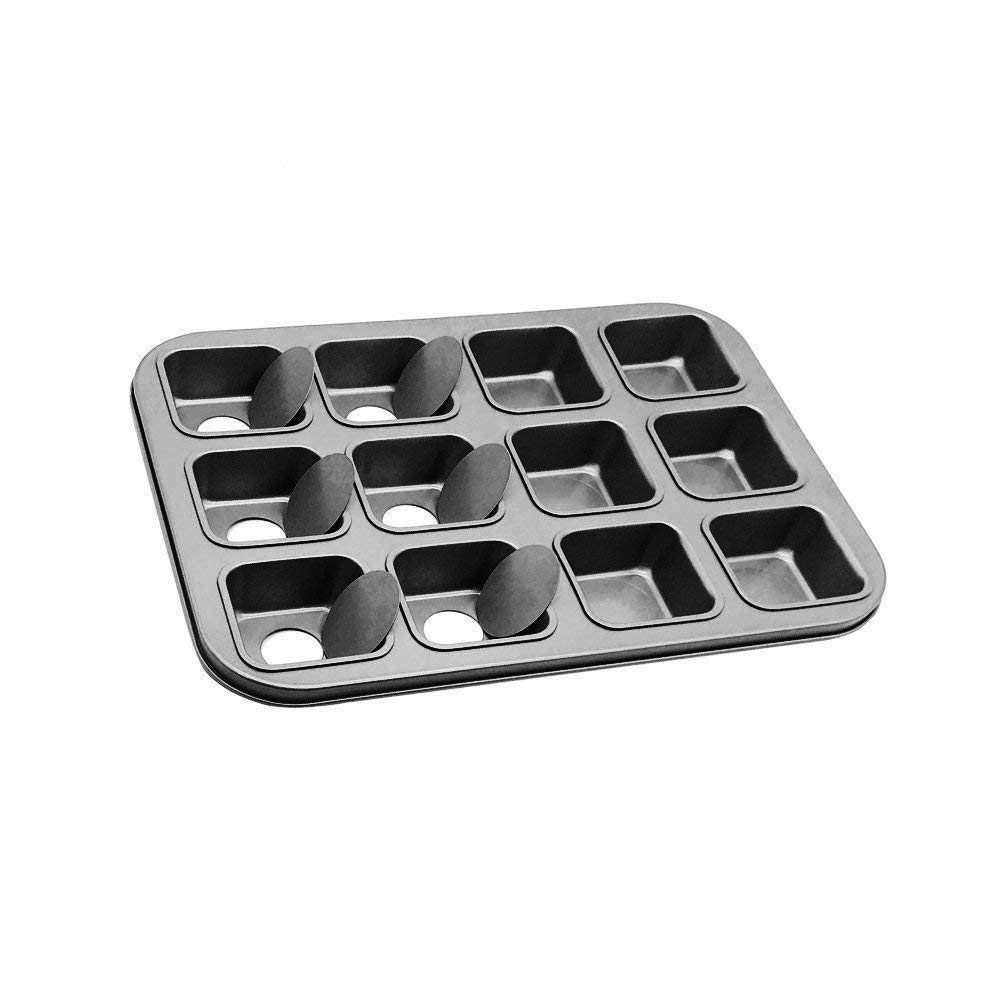 HOMOW Non-Stick Bakeware Brownie Bar Baking Pan, Mini Cheesecake Pan Cupcake Pan with Removable Bottom, Square Cake Pan,12-Cavity (13.8'' x 10.4'' x 1.4'') by HOMOW (Image #3)