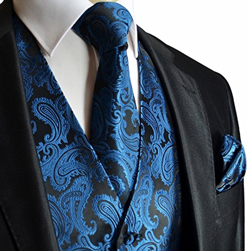 Men's 3pc Paisley Design Dress Vest Tie Handkerchief Set For Suit or Tuxedo (XL (Chest 46), Metallic Blue) (Five Set Piece Tuxedo)