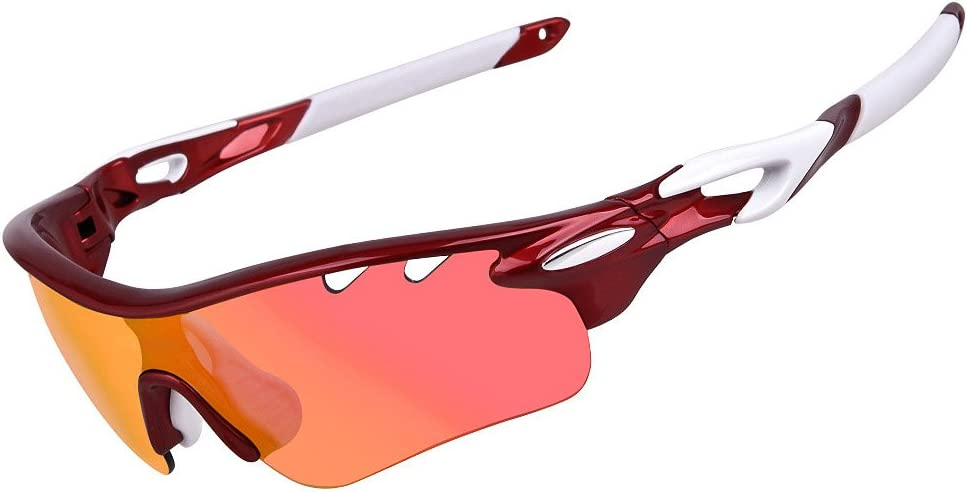 Paskyee Polarized Sports Sunglasses with 5 Interchangeable Lenses, for Men Women Cycling Baseball Running Fishing Driving Golf, Tr90 Unbreakable