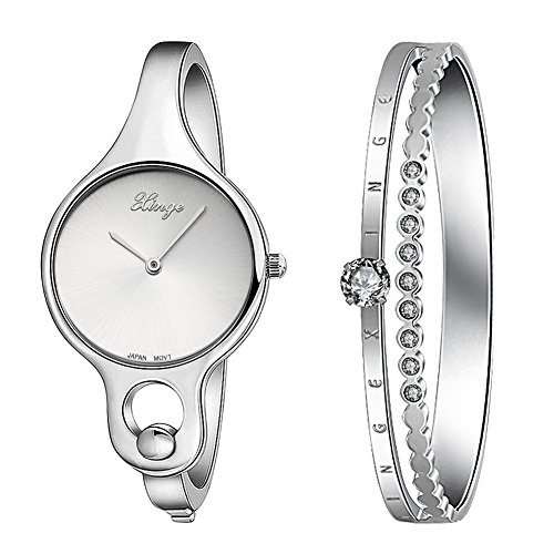 (Xinge Women's Stainless Steel Bangle Watch Set with Crystals Silver Tone 2 Pieces W3678-S)