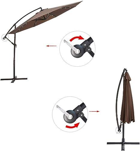 Paraguas Solar para Patio Exterior de Lujo de 3 m, con 32 Luces LED, Sistema de elevación de manivela, Base Cruzada, Resistente, 250 g/m², Revestimiento de poliéster: Amazon.es: Jardín