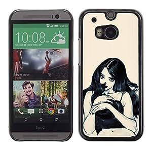 GRAN FUNDA DE REGALO // Funda carcasa PC Derecative para HTC Uno y M8/mujer Sexy Lady chica bruja gato/