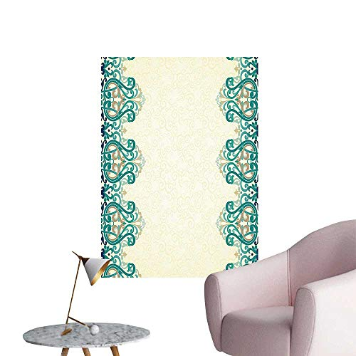Wall Art Prints Like Border Victorian Style Pattern Light Yellow Jade Green for Living Room Ready to Stick on Wall,32