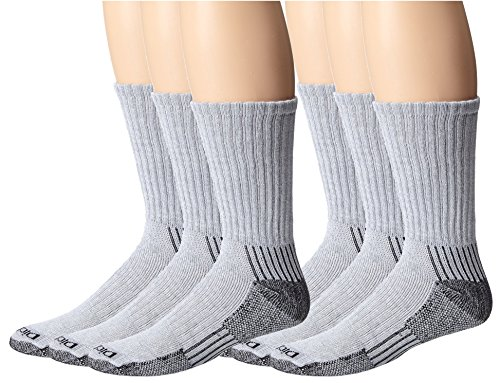 Dickies Men's Heavyweight Cushion with Ankle and Arch Compression Work Crew Socks, Grey, Men 6-12, 2 Pack (6 Pair) from Dickies