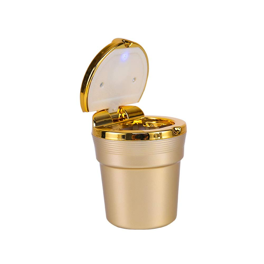 Color : Gold HUACANG Car With LED Light Ashtray With Cover Flame Retardant Plastic Liner High Temperature Resistant Ashtray