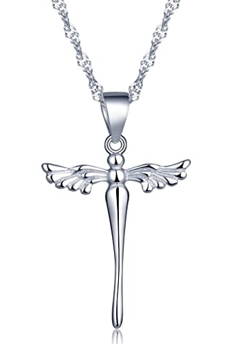 Infinite U Classic Girls/Women Angel Wings Cross Pendant Necklace made of 925 Sterling Silver (with Gift Bag) 8NSSo