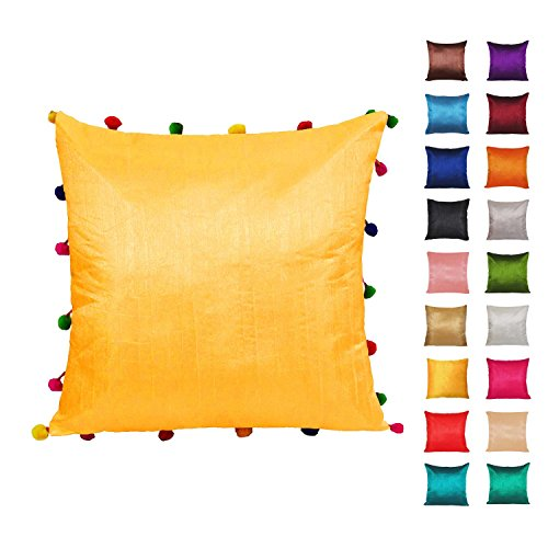 Yellow Square Cushion Covers With Pom Pom Lace Poly Dupion Silk Sofa Pillow Case Home Decor 22