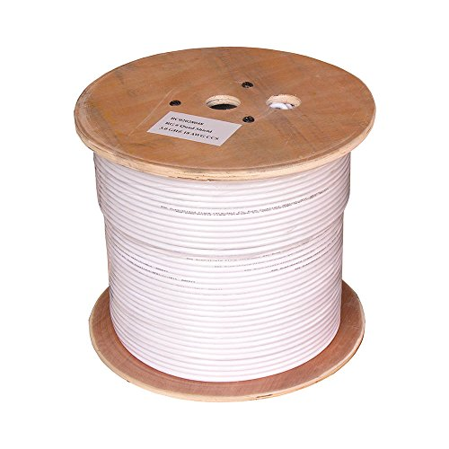 (GOWOS 1000Ft RG6 Bare Copper CMP (Plenum) Quad Shield Coax Cable White)