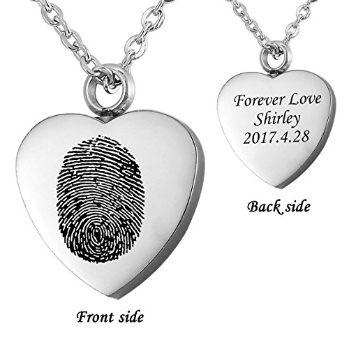 HooAMI Fingerprint Memorial Jewelry Personalized Custom Engraved Heart Necklace Pendant