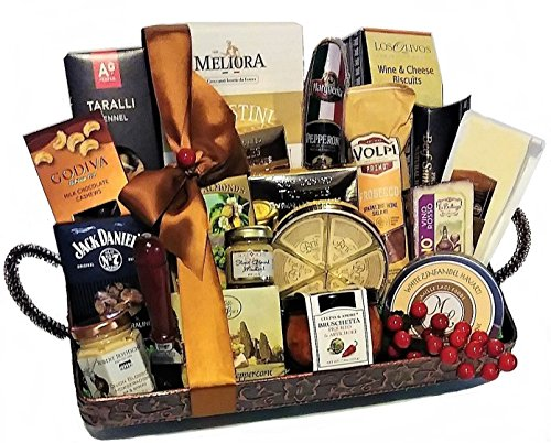 Grand Gourmet Cheese and Meat Tray with Pepperoni, Salami and Sausage Tray by Goldspan Gift Baskets