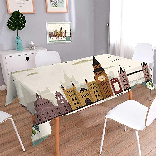 Londres Natural (PINAFORE HOME Natural Tablecloth Attrayant Londres paysage Voyage Dans le Style plat Multi Colors & Sizes/Oblong, 60 x 102 Inch)