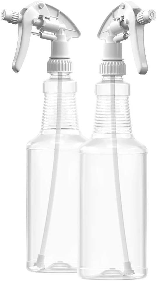 BAR5F Plastic Spray Bottles, 32 oz | Leak Proof, Empty, Adjustable, Clear, Refillable, Heavy Duty Sprayer | Water Plants, Cleaning Solutions, Hair Mist | White Sprayer Heads | Pack of 2