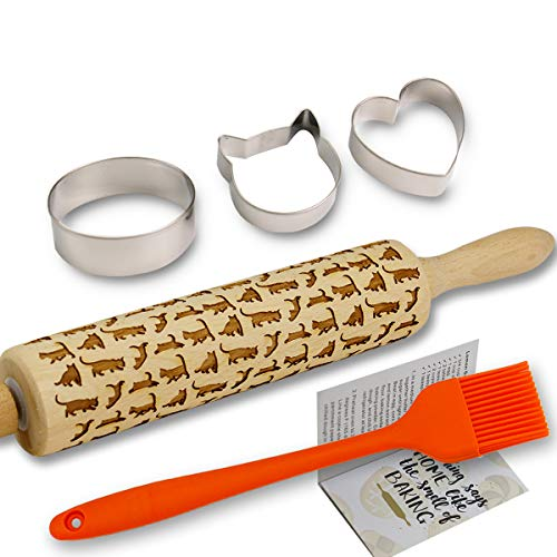Cat Embossed Rolling Pins for Baking Cookies + Basting Brush + Cookie Cutters + Recipes Embossing Rolling Pin Animal Wood for Pies Laser Engraved Rolling Pin 3D Embossed Dough Roller Christmas