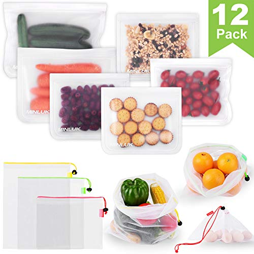 Reusable Food Storage Bags - Reusable Sandwich Bags(6-Pack) PEVA Leakproof Ziplock Kids Lunch Snacks Bag with Mesh Produce Bags(6-Pack) Eco Friendly Meal Prep | Freezer Containers Fruits Kitchen Saver