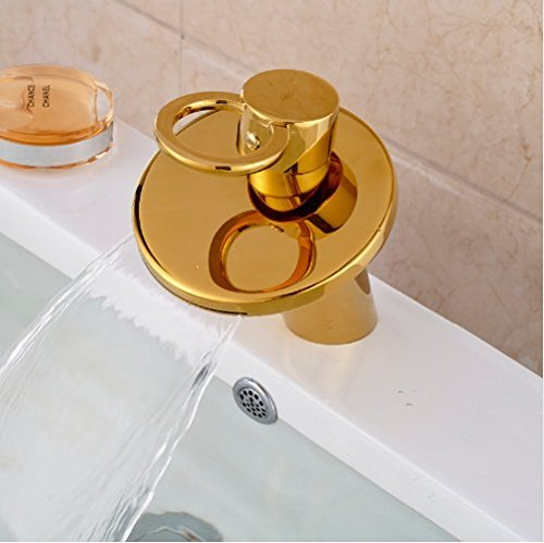 Gowe Golden Brass Deck Mounted Bathroom Basin Faucet Bathroom Waterfall Sink Water Mixer tap 3