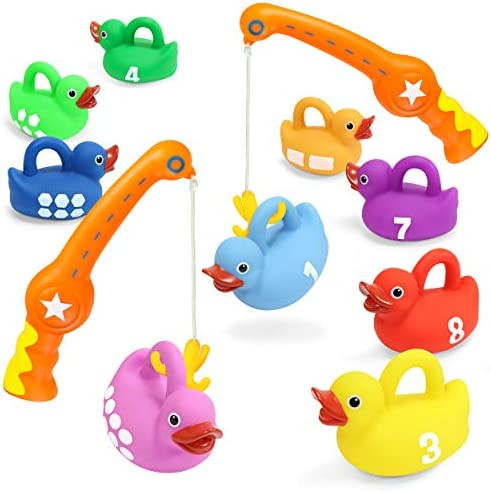 Kidzlane Bath Toys Fishing Game - 2 Toy Fishing Poles and 9 Rubber Duckies - Teaches Colors Numbers & Shapes - Mold-Proof Designno Holes - Great Learning Toy for Kids Ages 18M to 5 Years