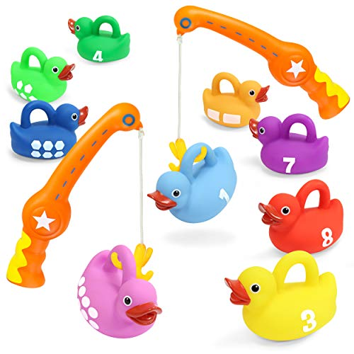Kidzlane Fishing Game - 2 Toy Fishing Poles and 9 Rubber Duckies - Teaches Colors, Numbers & Shapes - Mold-Proof Design with no Holes - Great Learning Toy for Kids Ages 18M to 5 Years