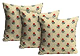 Mukesh Handicrafts Flowers Jute Fabric Cushion Cover Set Of 3 - Size (24X24 Inches)