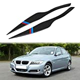 Aramox Headlight Eyebrow 2Pcs Carbon Fiber Headlight Eyebrow Eyelid Cover for BMW 3 Series E90 E91 2006-2011 (BMW style)