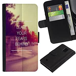 iKiki Tech / Cartera Funda Carcasa - Quote Vintage Motivational - Samsung Galaxy S5 Mini, SM-G800, NOT S5 REGULAR!