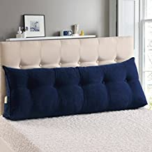 WOWMAX PP-Cotton Filled Triangular Wedge Pillow Positioning Support Reading Backrest Cushion for Sofa Bed Day Bed and Upholstered Headboard with Removable and Washable Cover Deep Blue Queen
