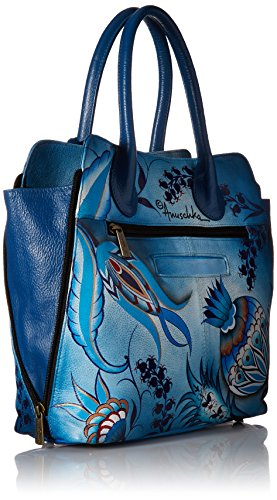 Anuschka, borsa a mano e a tracolla dipinta a mano di lusso in cuoio, da donna, 551, blu affascinante, regalo per festa della mamma